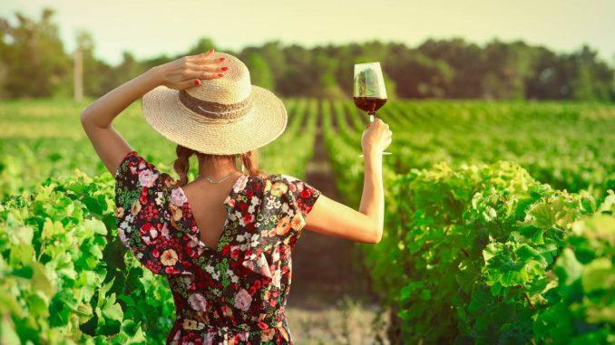 Une femme dans les vignes